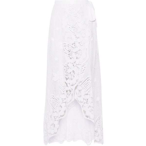 Miguelina Valencia crocheted cotton-lace wrap maxi skirt ($515) ❤ liked on Polyvore featuring skirts, long white cotton skirt, long white skirt, bohemian maxi skirts, lace maxi skirt and long skirts