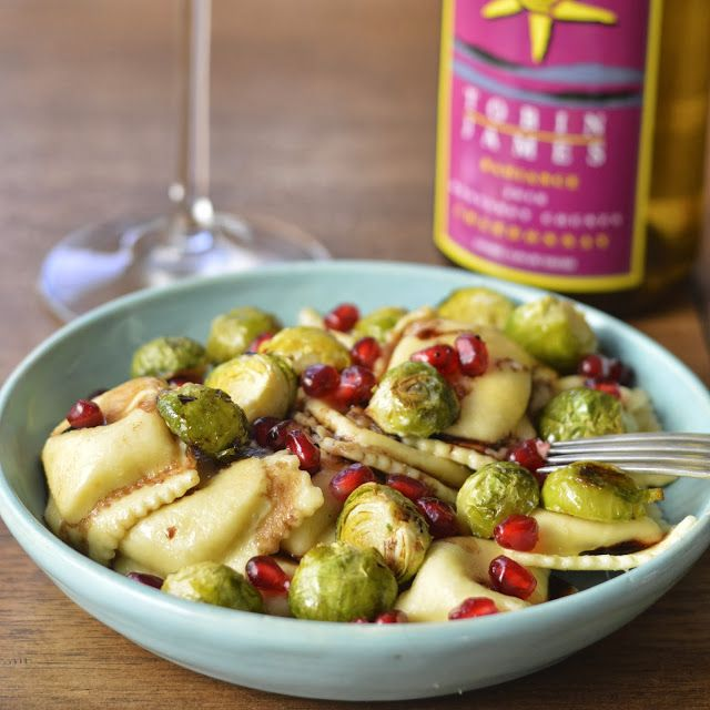Virtually Homemade: Cheese Ravioli with Roasted Brussels Sprouts and Pomegranates #fallfest