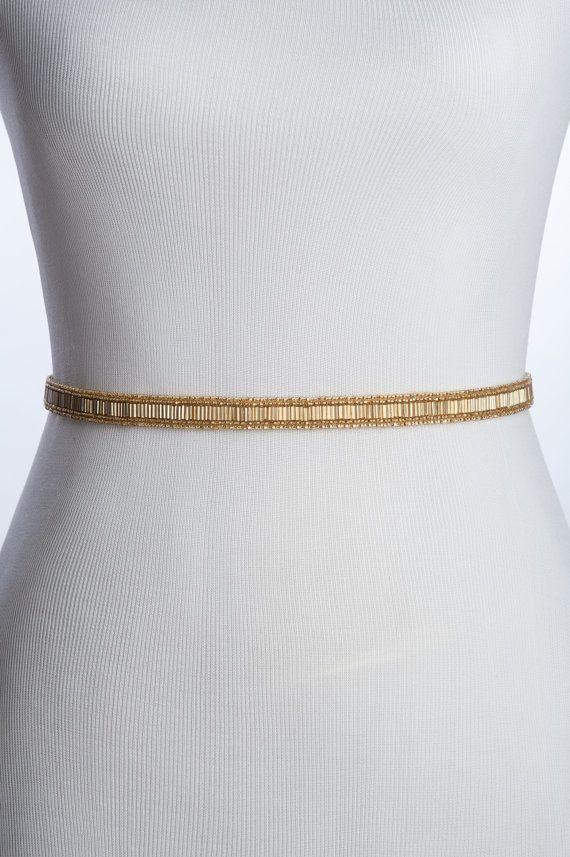 skinny gold beaded wedding belt, gold bridal belt / sash , bridal beaded sash