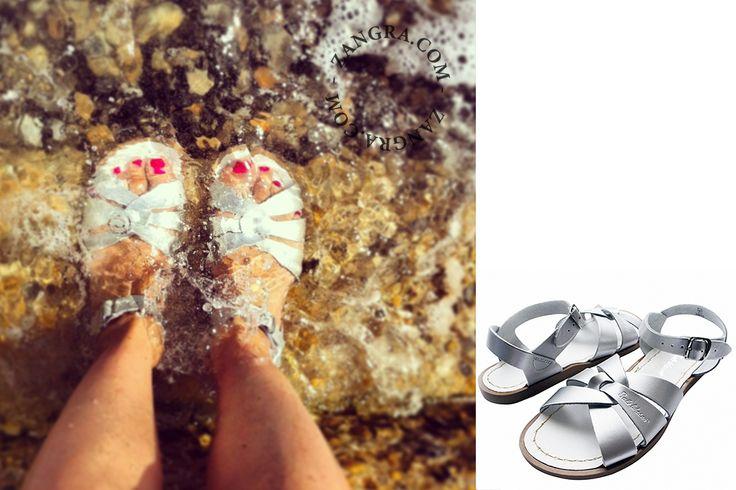 sandales d'eau en cuir - argenté