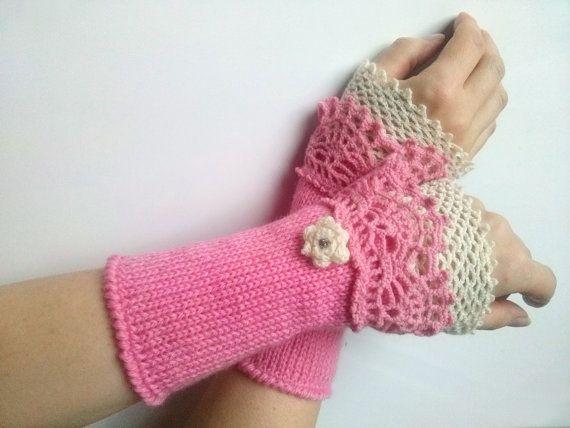 Pink Handmade Wrist Warmer Cuffs with White Crochet by LoriYarns, $35.00