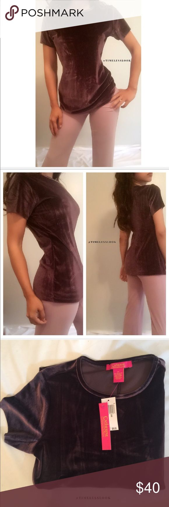 """Plum purple lush velvet tee •brand new  •ships tomorrow •brand : Catherine Malandrino NWT $68 - 2016 fall / winter   •no trades  • top quality  - form fitting fit •true to size     Model: goguios in insta 📸 (account manager) modeling XS  Please visit """"Closet Rules"""" for more info about us :) Nordstrom Tops"""
