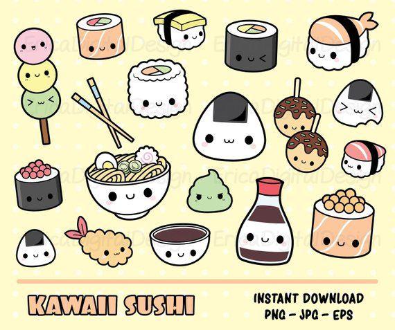Sushi kawaii clipart set Cute sushi clip art Kawaii ...