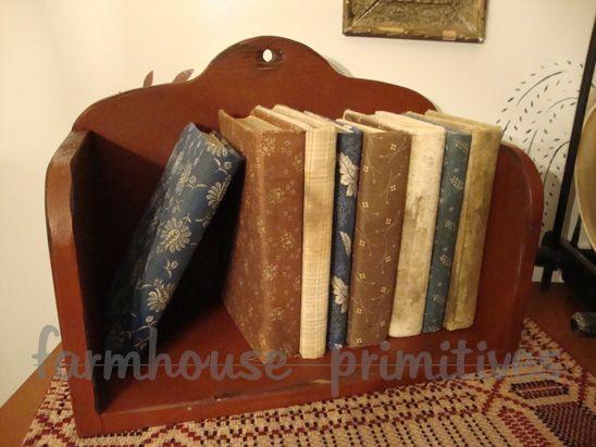 Colonial and primitive country home decor FARMHOUSE PRIMITIVES (cookbook shelf)
