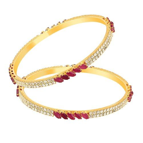 Mahi Gold Plated Perfecto Bangles With CZ Stones And Ruby - Online Shopping for Bracelets n Bangles by Mahi Fashion Jewelry