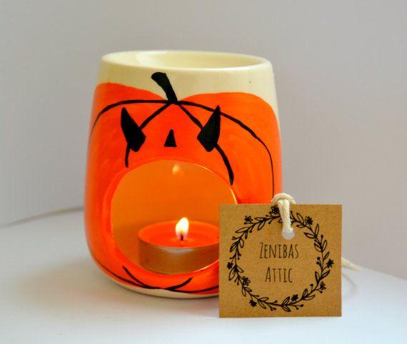 Halloween calabaza vela titular - quemador de aceite - fundidor de cera - cera calentador - otoño - otoño - calabaza especia - fiesta de Halloween - Hallows eve