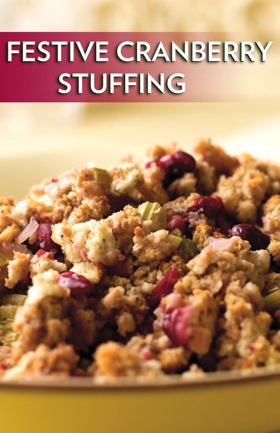 Festive Cranberry Stuffing - Cut the fat without giving up flavor by using broth instead of butter in this crimson fruit-studded stuffing that goes nicely with roast poultry or pork.