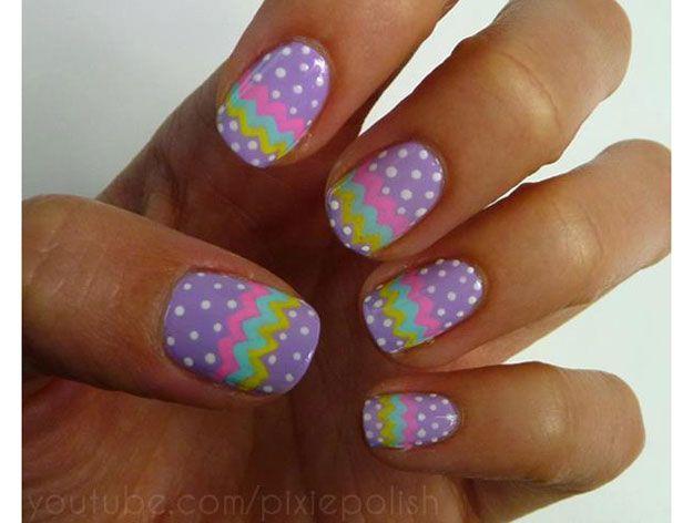 Retro Easter Nail Art | Easter Nail Designs, check it out at http://makeuptutorials.com/easter-nail-designs-makeup-tutorials