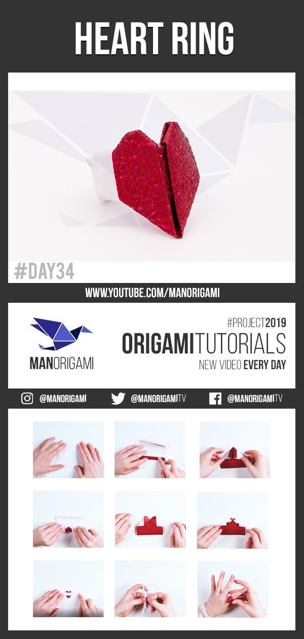 Origami: Heart Ring. - Instructions in English (BR) | Origami ring, Origami  heart, Origami easy | 1260x600
