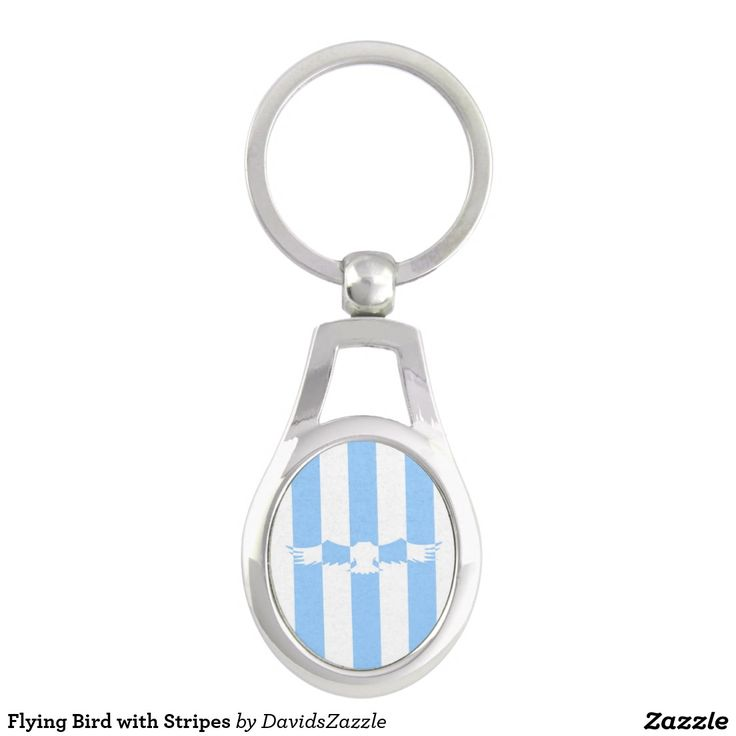 Flying Bird with Stripes Key Chain  Available on more products! Use the design name to search my Zazzle Products Page.  #eagle #bird #flight #flying #fly #feather #wings #blue #sky #take #white #animal #nature #planet #earth #illustration #silhouette #chic #contemporary #buy #sale #zazzle #key #chain