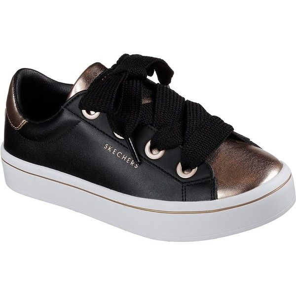 Skechers Women's Hi-Lites - Medal Toes Black - Skechers (195 PEN) ❤ liked on Polyvore featuring shoes, sneakers, black, black sneakers, black trainers, skechers sneakers, metallic shoes and skechers shoes