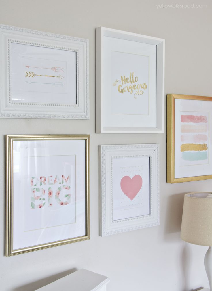Gallery Wall in a sweet little girl's room makeover - what little princess wouldn't love this??