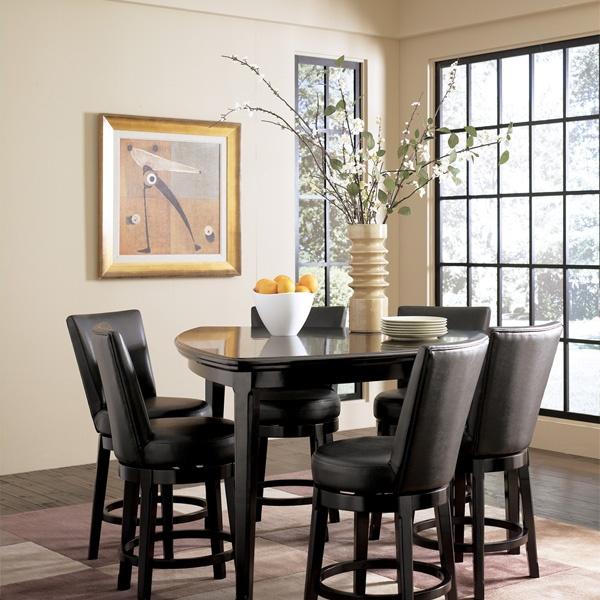 Ashley Millennium Emory Triangle Pub Table Set With 6 Upholstered Swivel Bar Stools