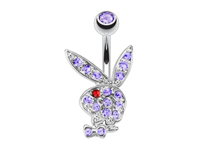 Surgical Steel & Rhodium Plated Lavender & Red Crystal Playboy Bunny Banana 1.6 X10 X5/8