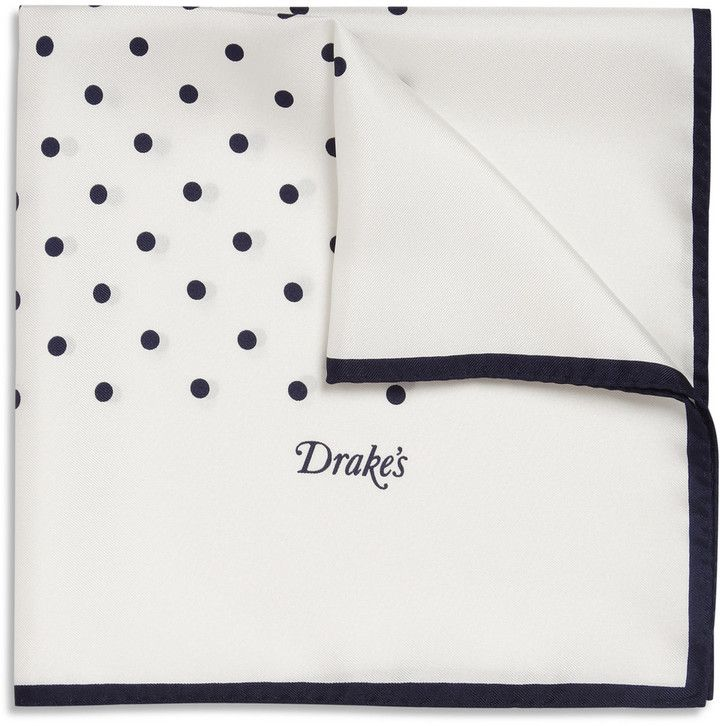 $85, White and Black Polka Dot Pocket Square: Drakes Drakes Polka Dot Silk Pocket Square. Sold by MR PORTER. Click for more info: https://lookastic.com/men/shop_items/142458/redirect