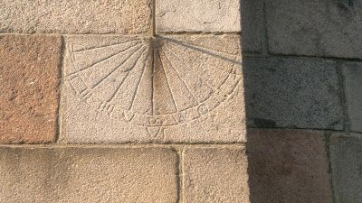 """Solar watch from around 1100 at Vejrum Church i Northwestern Jutland - a so called """"gnomon"""". Devides the day light part of the day i 12 parts. The meassured hours varies according to the time of year. Some gnomon-hours last up to 2 real time hours, some only a less than a real time hour."""