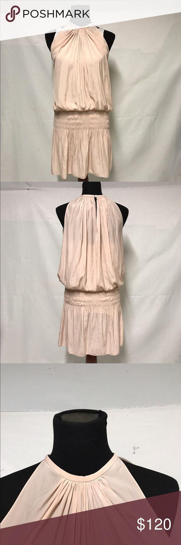 "Ramy Brooke pale pink sleeveless micro-mini dress Polyester micro mini in a very pale pink dropped waist that is elasticized. Neck is gathered both front and back. Single button at the top of the neck, can be either front or back. Length is 36"". Ramy Brook Dresses Mini"