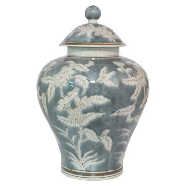 "Check out this item at One Kings Lane! 16"" Nature-Scene Jar w/ Lid, Gray"