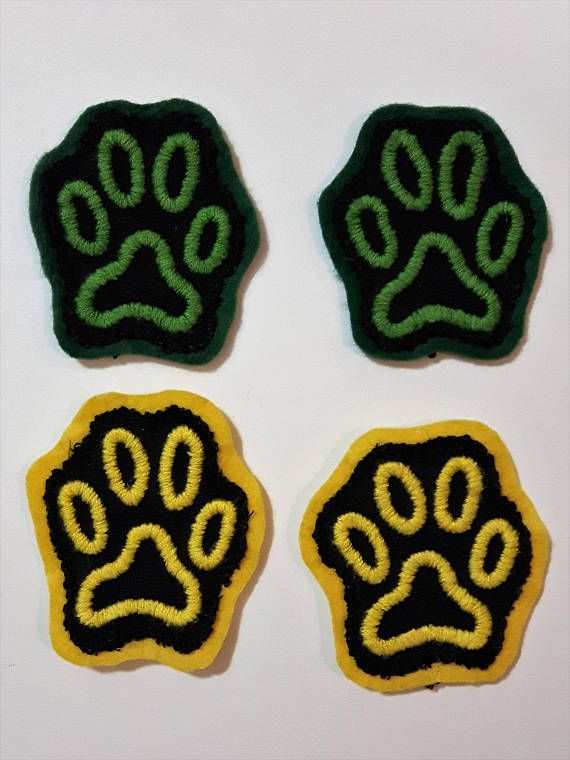 Hand embroidered patch. Paw print patches. Sew on patches for