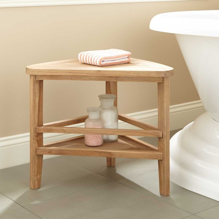 teak corner shower stool