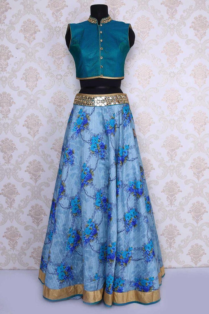 Teal #blue raw silk rich #lehenga choli with dull #gold ...