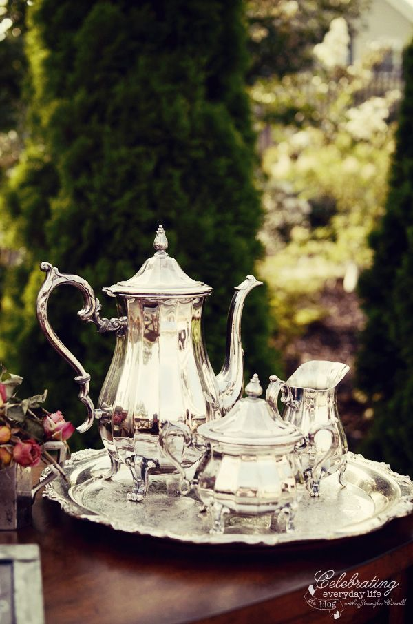 Vintage coffee service from my Tally Ho dinner {aka my Ralph Lauren inspired dinner part 2!}
