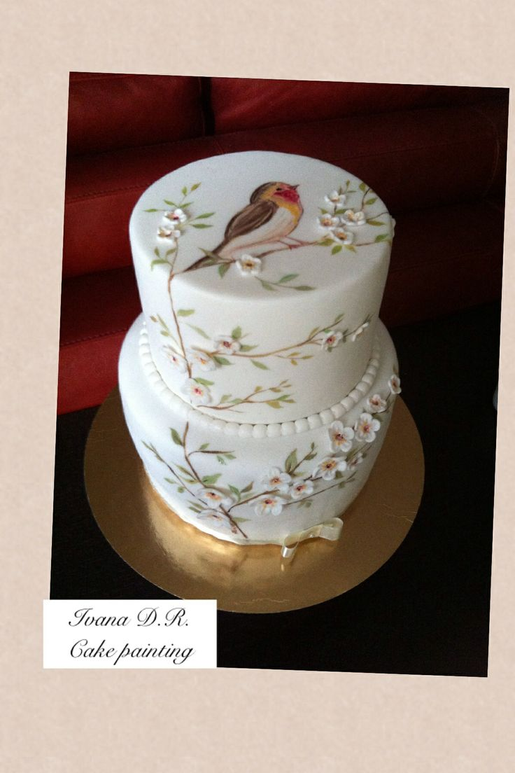 Bird & cake hand Made painting