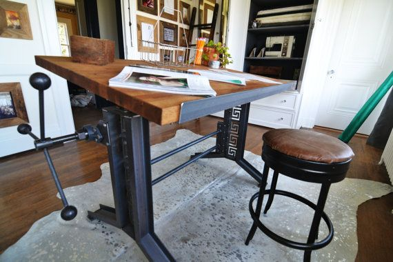 French Industrial Drafting table desk by CamposIronWorks on Etsy