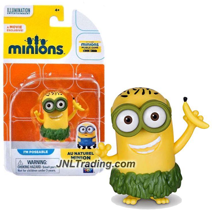 Thinkway Toys Illumination Entertainment Movie Minions 2 Inch Tall Figure - AU NATUREL MINION with Banana