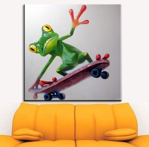 """This cool Skateboarding Frog will be surely loved by kids to be in their room or simply brighten up your living area! ""  Need to update your house, your room or even your office room? Perhaps, your tired staring at your boring, blank walls?  Here at CANVASARTDIRECT, we aim to put more color in your walls that will make you staring at them worthwhile! So what are you waiting for? Start browsing at www.canvasartdirect.com.au to bring those old, boring walls to life!"