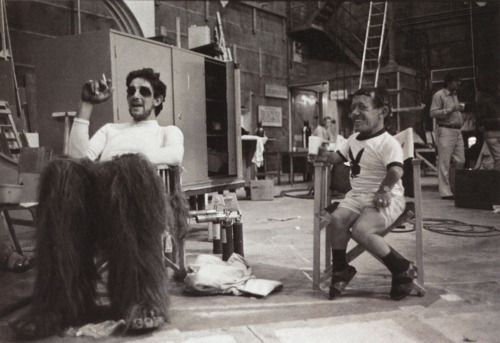 Peter Mayhew and Kenny Baker on the set of The Empire Strikes Back.