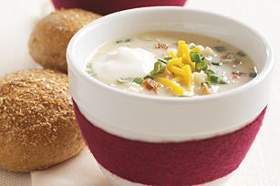 """Loaded """"Baked Potato"""" Soup recipe - Give the stove the night off with this easy microwave recipe, and sit down to a steamy bowl of potato-y deliciousness in half an hour."""