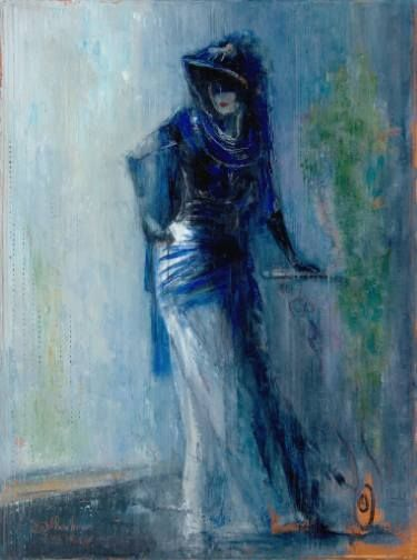 "Saatchi Art Artist Anna Ravliuc; Painting, ""Lady in Blue"" #art"