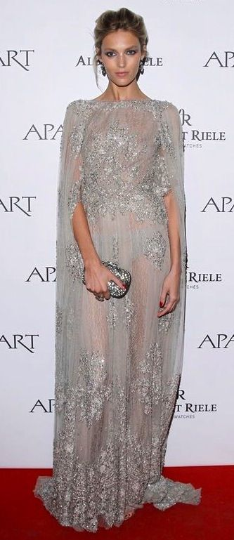 Anja Rubik in Elie Saab fall 2013 collection sheer grey embellish gown with heavily beaded bodice with a dramatic floor length cape