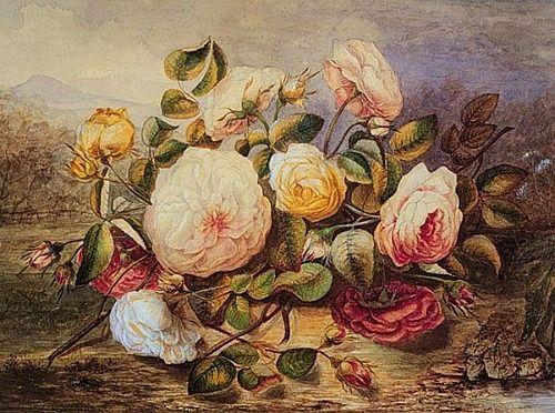 Джеймс Гриффитс Натюрморт с белыми розами недатированной