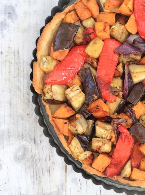 Vinterpai med grillede grønnsaker