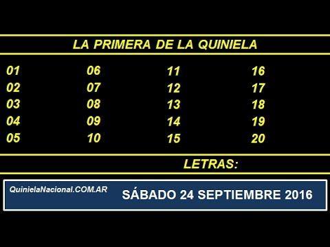 Video Quiniela Nacional La Primera Sabado 24 de Septiembre de 2016 Pizarra del sorteo desarrollado en el recinto de Loteria Nacional a las 11:30