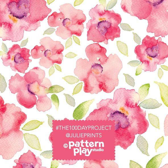 Watercolour floral surface design by Julie Harrison www.patternplaystudio.com Surface Pattern Design - Pink blooms, floral, watercolour flowers