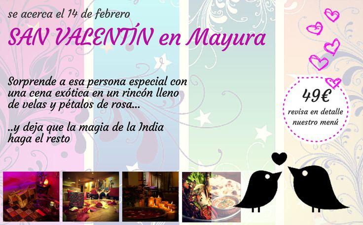 Se acerca San Valentín, ya tienes planes para ese día? No esperes y reserva ya! Echa un vistazo a nuestro menú. Una cena romántica estilo hindú, llena de detalles y sabores. Ven a Mayura y disfruta de una cena romántica en un ambiente delicado con velas y pétalos de rosa. Te esperamos! #MenúSanValentín #SanValentín #CenaRomántica http://mayuralounge.es/SanValentin.pdf Mayura restaurante & lounge - Barcelona