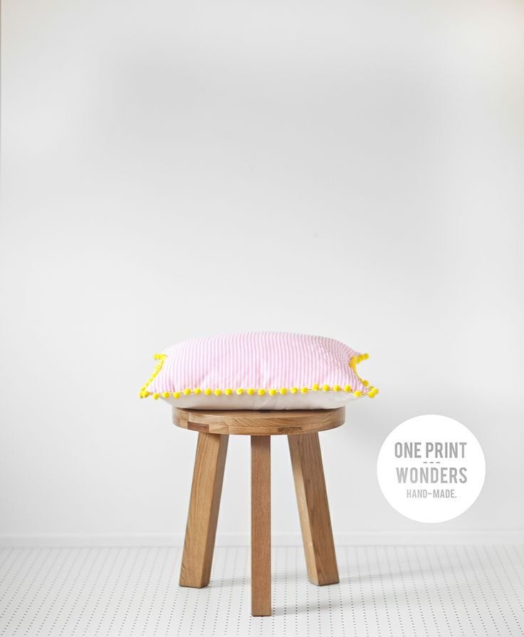 Candy stripes with yellow pom-pom trim. © One Print Wonders