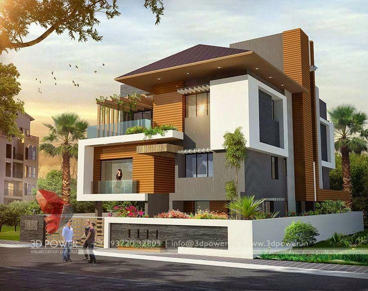 Visualización casa tres pisos con columna para tinaco & antena TV