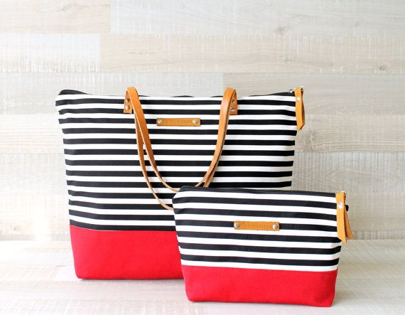 Nautical striped tote (nappy) bag + pouch