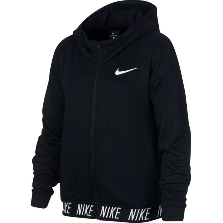 Nike Girls' Dry Training Full-Zip Hoodie, Size: Small, Black