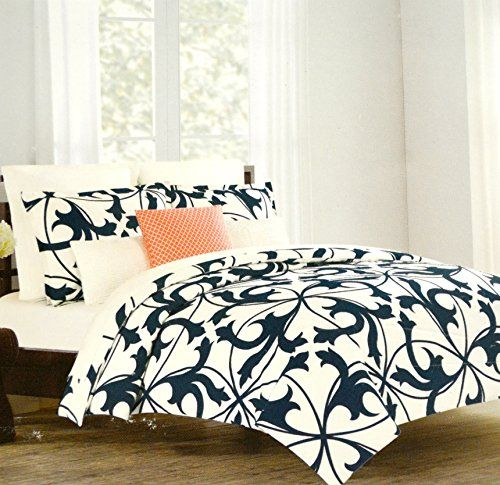 Tahari Home 3pc Duvet Cover Set Paisley Medallion Silver: Tahari Home Luxury Cotton Sateen Duvet Quilt Cover 3 Piece