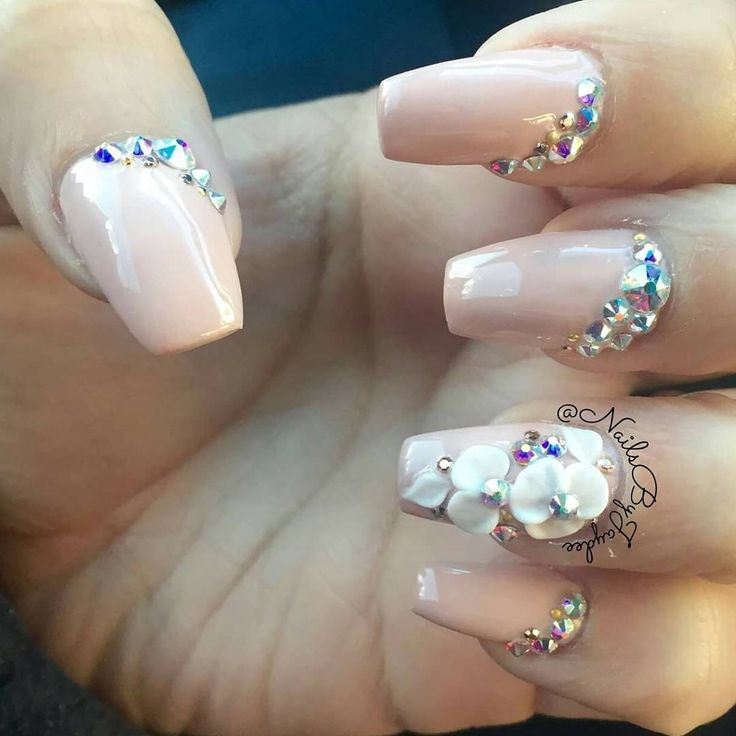 Cute coffin/ballerina nails! Nude with Swarovski crystals and 3d flowers