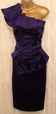 Karen-Millen-Purple-Satin-One-Shoulder-Pleat-Wiggle-Pencil-Fit-Party-Dress-6-8