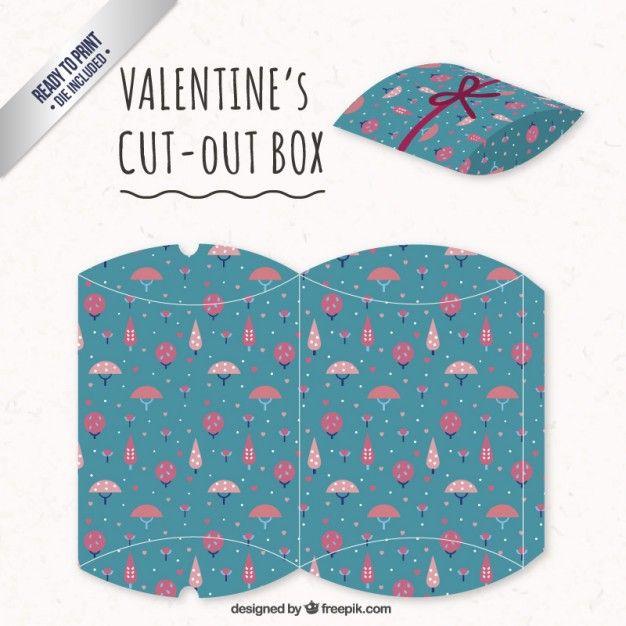 Caixa de Dia dos Namorados com árvores-de-rosa Vetor grátis