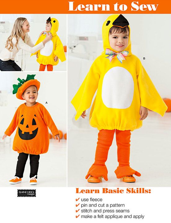 LAST ONE! New and uncut Simplicity LEARN TO SEW sewing pattern includes paper pattern pieces and instructions to make pumpkin and duck costumes in