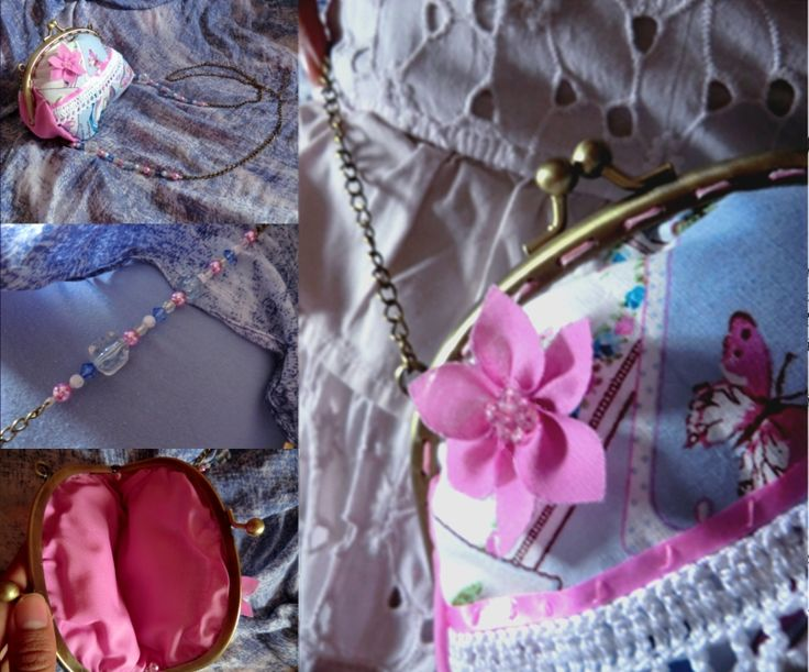Pink & Blue everyday purse with cute flower embellishment