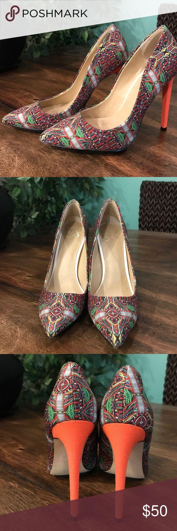 GX by Gwen Stefani Heels GX by Gwen Stefani pumps in a gorgeous pattern with orange heel. Never been worn. Size 6. GX by Gwen Stefani Shoes Heels